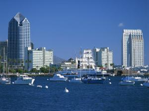 Boats in the Harbour and City Skyline of San Diego, California, USA by Richardson Rolf