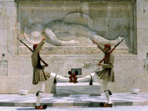 Evzones Guards in Front of Greek Parliament Building, Syntagma Square, Athens, Greece, Europe by Richardson Rolf