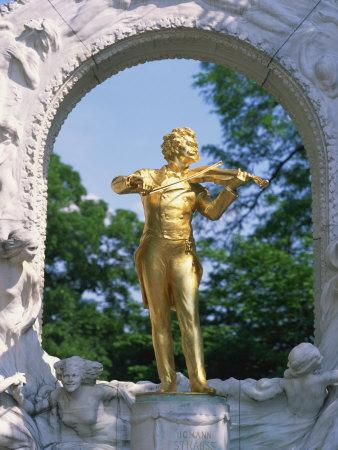 Gold Statue of the Musician Johann Strauss in Vienna, Austria, Europe