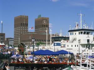 Open Air Restaurants around Harbour, with the Town Hall Behind, Oslo, Norway, Scandinavia, Europe by Richardson Rolf