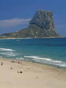 Tourists on the Beach at Calpe and the Penon De Ifach, in Valencia, Spain, Mediterranean, Europe by Richardson Rolf