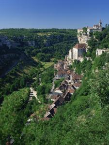 Town and Church Overlook a Green Valley at Rocamadour, Lot, Midi Pyrenees, France, Europe by Richardson Rolf