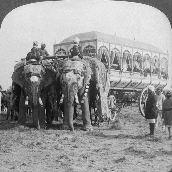 Richly Adorned Elephants and Carriage of the Maharaja of Rewa at the Delhi Durbar, India, 1903-Underwood & Underwood-Giclee Print
