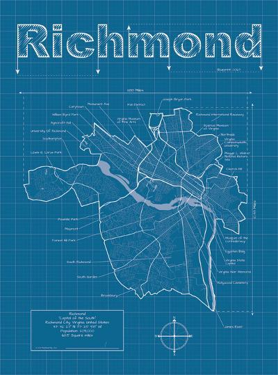 Richmond Artistic Blueprint Map-Christopher Estes-Art Print