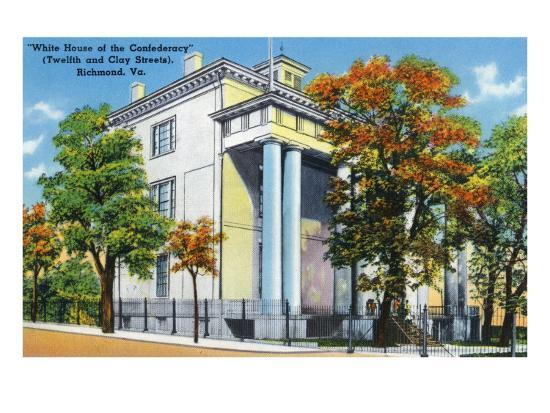 Richmond, VA, Exterior View of the White House of the Confederacy on 12th and Clay St-Lantern Press-Art Print