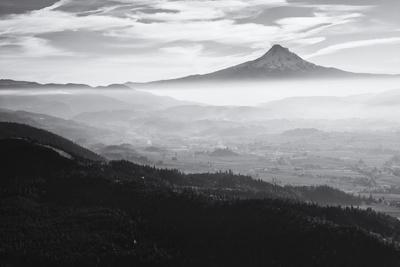 Oregon, Hood River, Aerial Landscape Smoke in the Hood River Valley