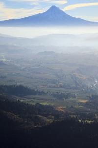 Oregon, Hood River, Aerial Landscape Smoke in the Hood River Valley by Rick A Brown