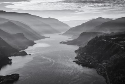 USA, Oregon, Aerial Landscape Looking West Down the Columbia Gorge by Rick A Brown