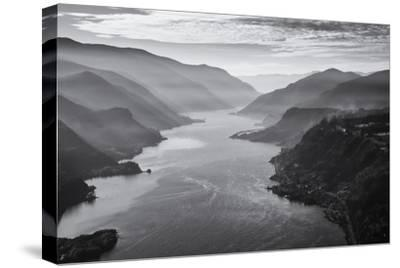 USA, Oregon, Aerial Landscape Looking West Down the Columbia Gorge