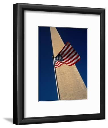 Flag and Washington Monument, Washington Dc, USA