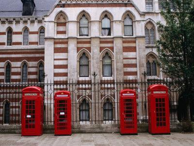 Red Telephone Boxes Outside Building Near the Inns of Court, London, United Kingdom
