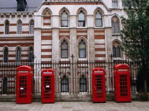 Red Telephone Boxes Outside Building Near the Inns of Court, London, United Kingdom by Rick Gerharter