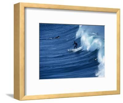 Surfers Catching a Wave, Santa Cruz, USA