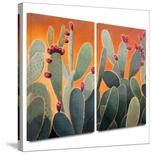 Cactus Orange 2 piece gallery-wrapped canvas by Rick Kersten