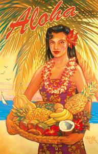 Aloha Fruit Basket - Hawaii Woman (Wahine) - Tropical Fruit Basket by Rick Sharp