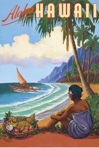 Aloha Hawaii - Hawaiian Woman watching Outrigger Canoe (Wa'a) by Rick Sharp