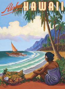 Aloha Hawaii - Hawaiian Woman watching Outrigger Canoe (Wa'a) by Rick Sharp