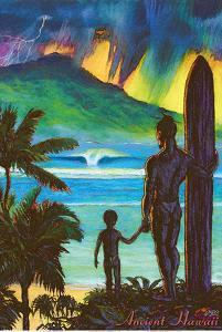 Ancient Hawaii - Hawaiian Surfer with Keiki Son by Rick Sharp