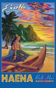 Exotic Haena Beach - Kauai Hawaii - Bali Hai, Makana Mountain by Rick Sharp