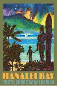 Hanalei Bay - North Shore Kauai Hawaii - Ancient Hawaiian Surfer by Rick Sharp