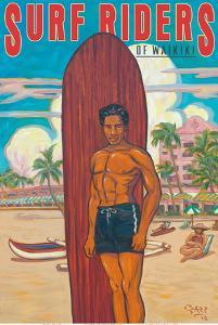 Surf Riders of Waikiki - Hawaii Surfer - Koa Wood Longboard by Rick Sharp