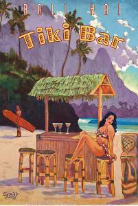 Tiki Bar - Bali Hai, Makana Mountain - Kauai Hawaii by Rick Sharp