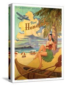 Visit Honolulu - Hawaii Hula Girl Playing Ukulele - Fly Interisland Airlines by Rick Sharp