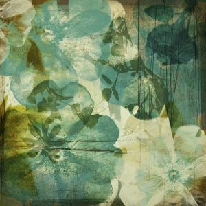 Vintage Teal Blooms II by Ricki Mountain