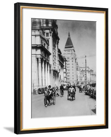 Rickshaws in Shanghai--Framed Photographic Print
