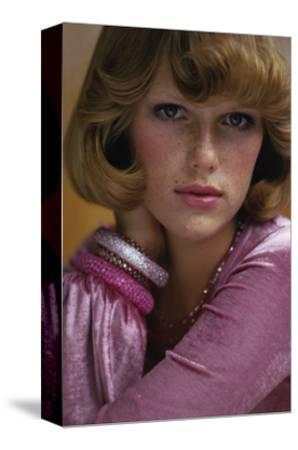 Duplicate- Head Shot of Model Patti Hansen Wearing Pink Alley Cat by Betsey Johnson