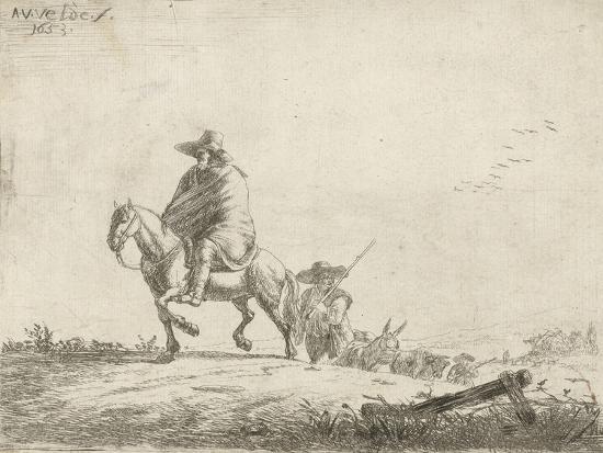 Rider and herdsman with cattle on a dirt road, 1653-Adriaen van de Velde-Giclee Print