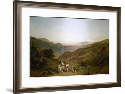 Rider with Two Peasants on the Road Between Valparaiso and Santiago,1843-Johann Moritz Rugendas-Framed Giclee Print