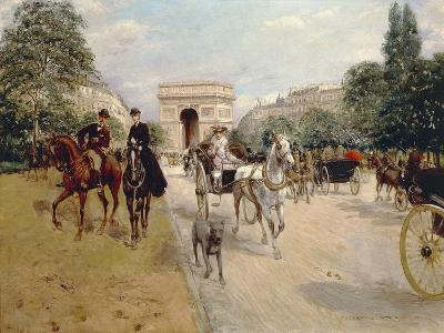 Riders and Coaches on Bois De Boulogne Avenue in Paris with the Arc De Triomphe in the Background-Georges Stein-Giclee Print