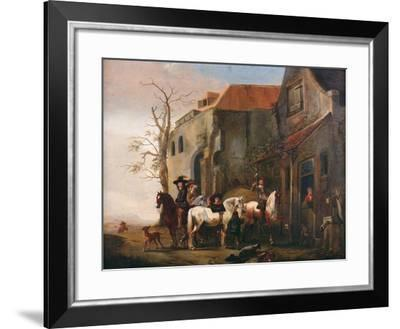 Riders and Horses at the Door of an Inn-Pieter Wouwermans-Framed Giclee Print