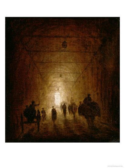 Riders and Pedestrians Passing Through an Arched Passage-Hubert Robert-Giclee Print