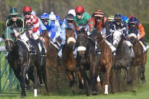Riders and Racehorses Galloping around Racecourse