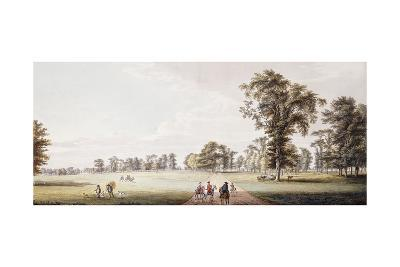Riders in an Avenue in the Park at Luton, with Figures in a Phaeton and Rustics on the Left-Paul Sandby-Giclee Print