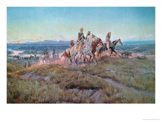 Riders of the Open Range-Charles Marion Russell-Giclee Print