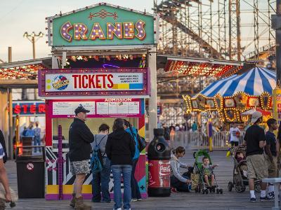Rides and Ticket Booths at Wildwood Beach at Twilight-Richard Nowitz-Photographic Print