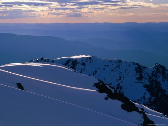Ridges from Mt. Carruthers in Winter, Kosciuszko National Park, New South Wales, Australia-Grant Dixon-Photographic Print