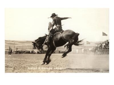 Riding a Nevada Bronco--Art Print