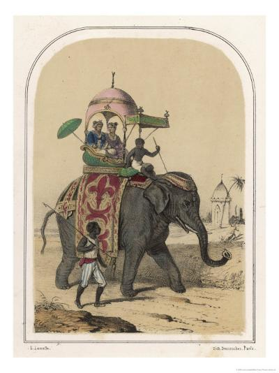 Riding an Indian Elephant in a Howdah-Louis Lassalle-Giclee Print