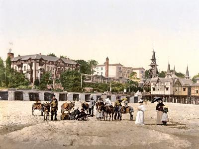 Riding Donkeys on the Beach at Heringsdorf, Germany, Pub. C.1895--Photographic Print
