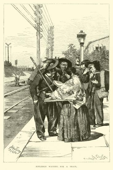 Riflemen Waiting for a Train--Giclee Print