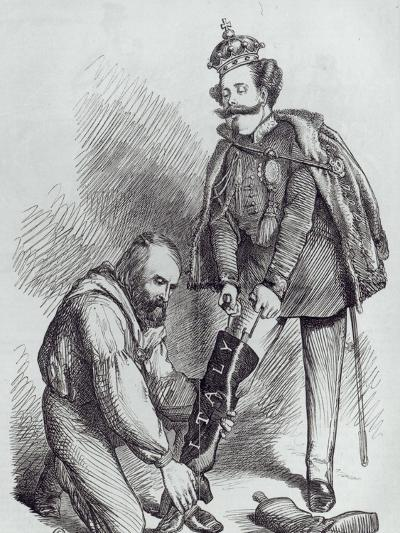 Right Leg in the Boot at Last, Caricature of Giuseppe Garibaldi and the King of Italy--Giclee Print