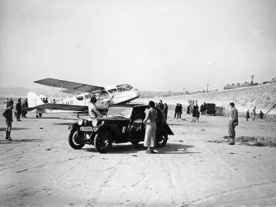 Riley Kestrel and a Dragon Aircraft on a Beach, 1934--Photographic Print