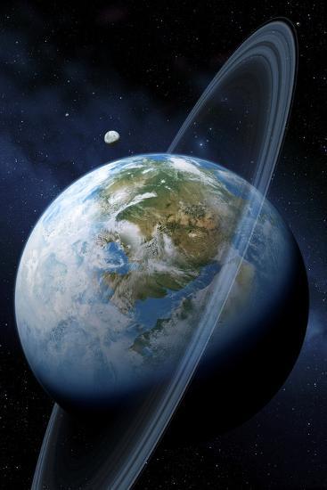 Ringed Earth-like Planet, Artwork-Detlev Van Ravenswaay-Photographic Print