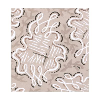 Rings of Undulating Looping Lines on Taupe--Art Print