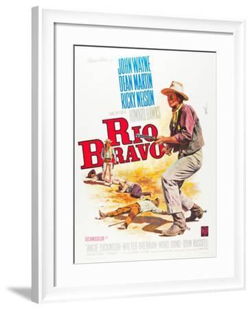 RIO BRAVO, John Wayne on French poster art, 1959.--Framed Art Print