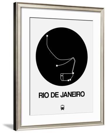 Rio De Janeiro Black Subway Map-NaxArt-Framed Art Print